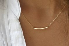 The Original Golden Bar -Very Elegant and Delicate Necklace - By SimaG. $33.00, via Etsy.