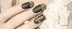 Nail Art Golden Studs & Dots on Smoking Grey PNC, Love Dark Nails By Sandrine Roelants Pronails Dark Angel Collection AW13-14