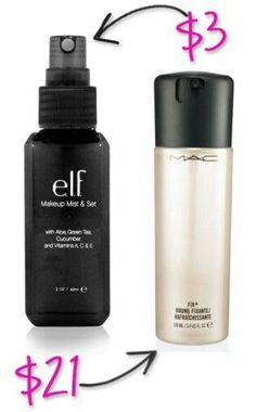 Here's an amazing makeup dupe for ya! Elf cosmetics mist setting spray only $3. It's worth more for the quality. Just as good as MAC's, don't let the price fool you. #elf