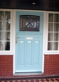 One of our beautiful front doors, complete with floral stained glass design Door Design, Hallway Decorating, Front Door Colors, Victorian Front Doors, External Doors, Front Door, Stained Glass Door, Raised Panel Doors, Wooden Porch