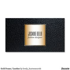 Gold Frame / Leather Business Card #leatherbusinesscards #businesscards #leather #fashion #fashiondesigner #boutiqueshop #fashionista #seamstress #gold #fasncy #lux #highfashion