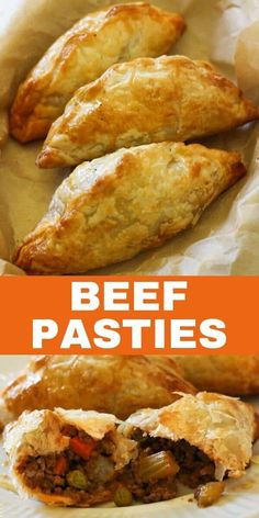 Delicious beef pasties made with savoury mince and light, golden puff pastry are a dinner the whole family will love. These pasties are bursting with flavour and are quick and easy to prepare. Kebabs, Puff Pastry Recipes Savory, Pastries Recipes, Meat Pie Pastry Recipe, Recipe For Puff Pastry, Sausage Rolls Puff Pastry, Sausage Pie, Savoury Recipes, Meat Recipes