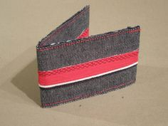 Denim business/credit card holder with Cotton trim (View 1)