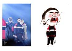 Exo Xiumin, Kpop Exo, Kaisoo, Exo Cartoon, Cute Cartoon, Exo Fanart, Exo Stickers, Printable Stickers, Exo For Life