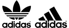 Adidas logo is bold and distinctive without being heavy. Employs simple use of shapes and text. Repeats the three stripe idea throughout brand.