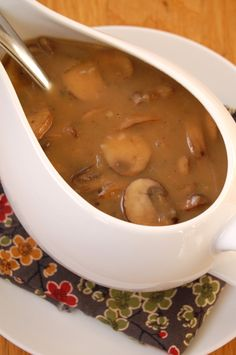 Rich stock, hearty mushrooms and fragrant sage make the perfect Thanksgiving gravy. From It's Not Easy Eating Green.