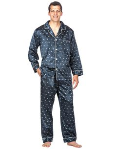 Lounge in luxury in this ultra-smooth Satin Pajama Set. Our generous sizing and elegant styling ensure the fit and comfort you deserve. Mens Silk Pajamas, Satin Pajamas, Mens Sleepwear, Sleepwear Sets, Satin Pyjama Set, Pajama Set, Men's Fashion, Fashion Outfits, Boy Outfits