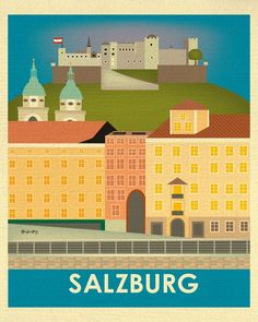 Salzburg wall art is available in an array of finishes, materials, and sizes, this retro inspired wall art will make Salzburg feel close to your heart with its bright color palette and unique design.