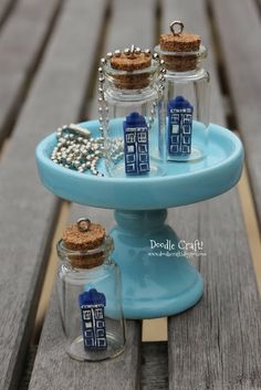 Doodle Craft...: Doctor Who Tardis in a Bottle Necklace!  Or any other slender, simple shape made from Fimo...