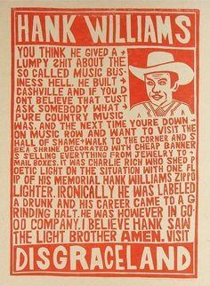 "Hank Williams ""Disgraceland"" Poster"