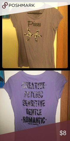 """Pisces ? t-shirt This is a lavender color t-shirt with """"pisces"""" on the front & the descriptives (see pic) on the back. Rocker Girl by ALL ACCESS Tops Tees - Short Sleeve"""