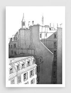 Paris illustration  Old houses b&w  Black and white par tubidu