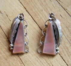 Large Vintage Native American Sterling Silver And Pink Shell Earrings