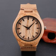 Casual Nature Wood Bamboo Genuine Leather Wrist Watch - Goodyy Woodyy