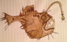 angler fish drawing sketch watercolour doodle