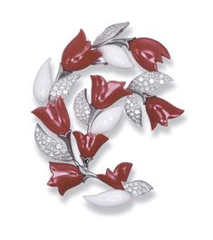 Coral and Diamond 'Cardamine' Brooch, Van Cleef & Arpels
