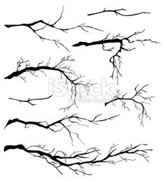 An Assortment of Bare Tree Isolated Branch Silhouettes. The branches. - An Assortment of Bare Tree Isolated Branches Silhouettes royalty-free stock vector art The Effectiv - Branch Drawing, Drawing Trees, Tree Drawing Simple, Winter Tree Drawing, Tree Line Drawing, Trees Drawing Tutorial, Winter Drawings, Painting Trees, Pencil Drawing Tutorials