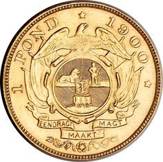 "The Zuid-Afrikaanse Republiek's (ZAR Transvaal ) first currency called a ""Burger Pond"", made of gold On the back it had the ""EENDRAGT MAAKT MAGT"" engravings on. This was the Dutch words for ""Strength thought unity"". Coin Art, Gold Money, Gold And Silver Coins, Tactical Survival, Gold Bullion, World Coins, Rare Coins, African History, Catalogue"
