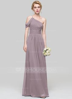 A-Line/Princess One-Shoulder Floor-Length Chiffon Bridesmaid Dress With Ruffle (007090199)