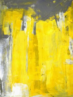 "Grey and Yellow Abstract Art Print - 16"" x 20"""