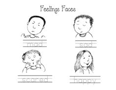 Kindergarten Feelings Faces worksheet - circle the mad face red, the sad face blue, the scared face purple, and the happy face yellow.