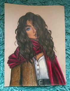 Amani Al'Hiza drawing from Rebel of the Sands (Alwyn Hamilton) The blue eyed bandit. Coloured using Faber Castell Polychromos pencils.