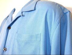 Tommy Bahama Mens Light Blue Silk Hawaiian Camp Shirt Short Sleeve Size M EUC #TommyBahama #Hawaiian