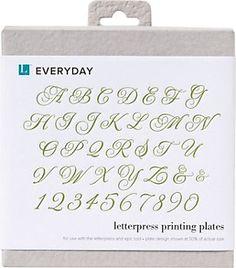 Calligraphy Alphabet Letterpress Printing Plate Set