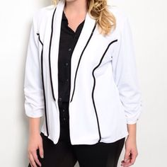 White Black Jacket White black jacket.  Made in USA.  95% polyester, 5% spandex.  Received from manufacturer in a grab bag bundle. It has no tags or bag, is NWOT. Route Jackets & Coats Blazers