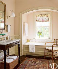 An Elegant New York Farmhouse Bathroom by Gil Schafer : Architectural Digest Architectural Digest, Fabric Window Shades, Traditional Bathroom, Beautiful Bathrooms, Bathroom Inspiration, Bathroom Ideas, Bathroom Renovations, Bathroom Wall, Taupe Bathroom