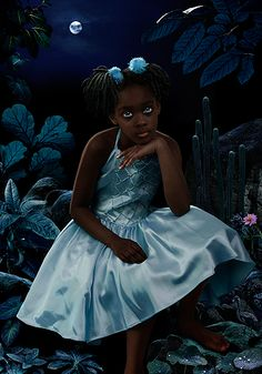 moon - Ruud Van Empel ~ Oh her Dark Chocolate Lovely Self and all this beautiful blue ~ Exquisite!!  ♥ it!