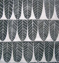 Hand printed Fat Quarter Linen Fabric- woodblock handprinted gray original feather design fun for home decor craft projects