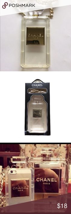 """🎉 iPhone perfume case for 5 and 5s Brand new perfume case in box. Though not real Chanel (the company never made one), the case is nice quality flexible plastic that will hold your iPhone securely. Super cute and on trend! Note: The box is torn at the bottom (came that way from supplier) but case wasn't used.  *Color: clear *38-1/2"""" detachable white/gold strap included *Case covers the back and sides *The first photo show the actual case for sale Accessories Phone Cases"""