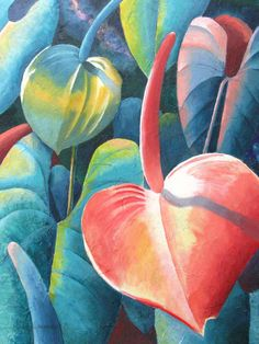 "Contemporary Painting - ""Anthuriums"" (Original Art from Marcy Lansman)"