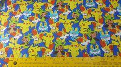 Starter Pokemon Fabric, FBTY, Yardage or Fat Quarters, FQ, Pikachu, Chespin, Fennekin, Froakie, Pokemon Go Fabric, Design 72584, Pokemon Go