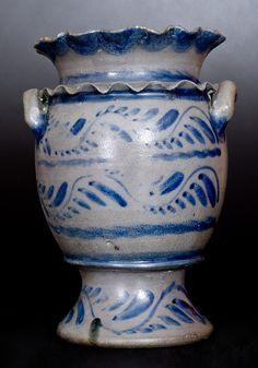 Exceptional Western PA Stoneware Flower Urn w/ Double Crimped Rim and Profuse Vine Decoration -- Lot 247 -- October 22, 2016 Stoneware Auction -- Crocker Farm, Inc.,$1150.