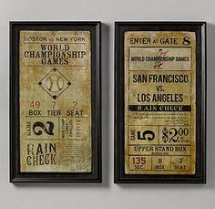 Vintage baseball ticket art that we ordered for Landry's room