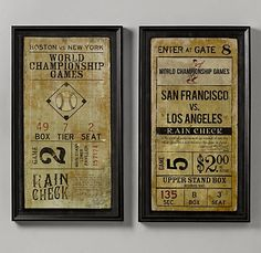 Vintage baseball ticket art that we ordered for Landry's room