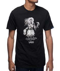 Get a vacation look anywhere you go with the Luau Lady black t-shirt from Vans x Sketchy Tank. This cotton tee features a screen printed zombie hula girl holding a pineapple and beer on the front while the cotton construction ensures a comfortable fit all