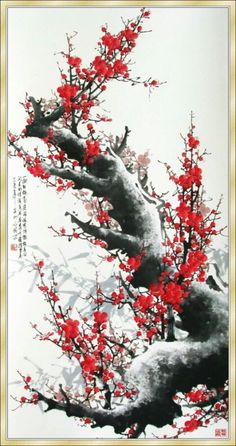 korean ink-and-wash painting : plum blossom