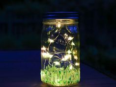 This sweet illuminated firefly Mason jar lantern is the perfect additionfor summertime cookouts, parties and sleepovers.