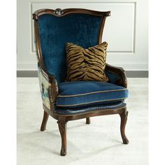 Massoud Gannon Wingback Chair ($2,699) ❤ liked on Polyvore featuring home, furniture, chairs, indigo, hand made furniture, handmade furniture, nail head chair, nailhead furniture and floral furniture