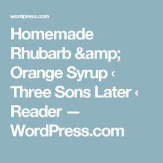 Homemade Rhubarb & Orange Syrup ‹ Three Sons Later ‹ Reader — WordPress.com