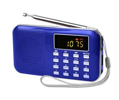 LEFON Mini Digital AM FM Radio Media Speaker MP3 Music Player Support TF Card / USB Disk with LED Screen Display and Emergency Flashlight Function (Blue-Upgraded)