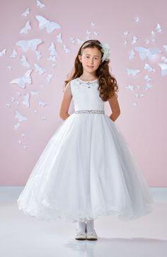 Main Image - Joan Calabrese for Mon Cheri Beaded Satin & Tulle First Communion Dress (Little Girls & Big Girls)