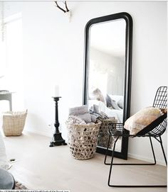 Decorative wall mirrors can be used in different ways to enhance decor ideas. Wall Mirrors presents 10 stunning black wall mirror ideas to decorate your home. Decoration Inspiration, Interior Design Inspiration, Room Inspiration, Design Ideas, Decor Ideas, Black Wall Mirror, Rustic Wall Mirrors, Huge Mirror, Mirror Mirror