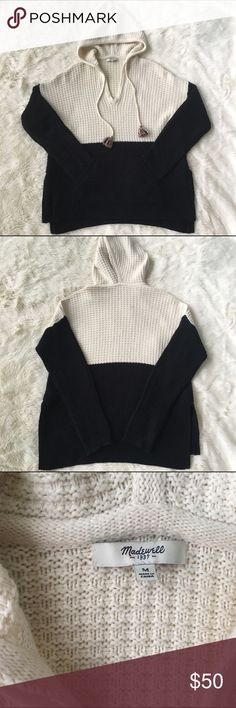 """Madewell waffle knit hooded Pom Pom sweater Excellent condition pom Pom front pocket waffle knit sweater. Sz medium. Has side slits and a slight high-low. Armpit to armpit approx 23"""" length approx 24.5"""" in front back length approx 27"""" waist approx 21"""".  Fabric unknown. Madewell Sweaters"""