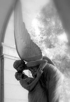 Staglieno Cemetery, Italy. What a perfect photo. This is an example of the Angel of Death now being depicted as a beautiful, peaceful and kind Angel. People began building monuments to be more comforting for loved ones than frightening.
