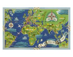 Air France: Flight Routes And Illustrated World Map, c.1950