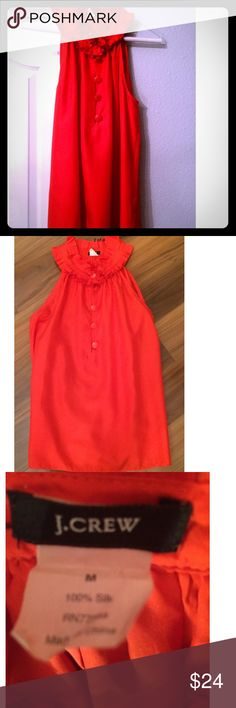 J. Crew Red Top/Blouse Size 6 J. Crew Red 100% Silk Top. Has ruffles at the top. Size 6. So cute on! J. Crew Tops Blouses